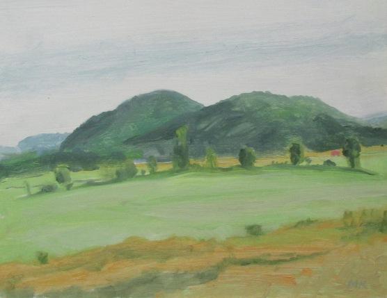 M Kramer, Irasburg VT fields with Hedgerow,8_x10_, 2001,o_panel, $275(1)